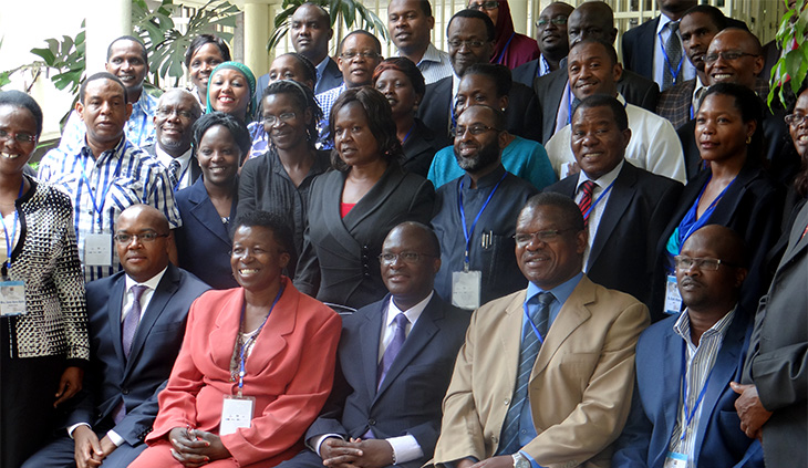 Mr Macharia (seated, third from right) with participants at the intergovernmental consultative forum