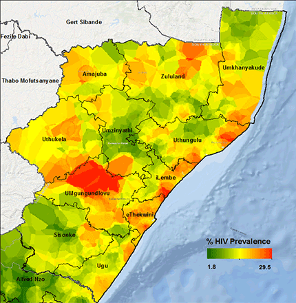 map of HIV hotspots in Kenya