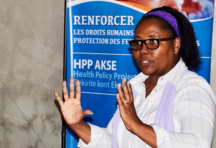Trainer at the SGBV training in Haiti