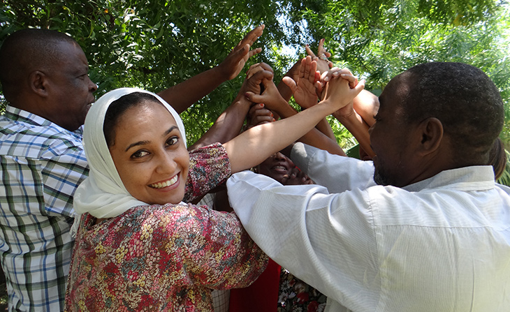 Staff members from the Mombasa County Health Department participate in team-building activities to strengthen coordination for better health services