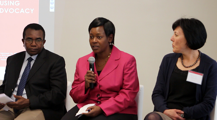 Modibo Maiga, Olive Mtema, and Beverly Johnston take questions during the forum.