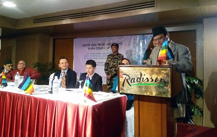 Dr. Minendra Rijal, Honorable Minister for Information and Communication of Nepal, inaugurates the South Asia Transgender and Hijra Consultation. PHOTO: BDS.