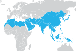 Image of Asia and Middle East regional map