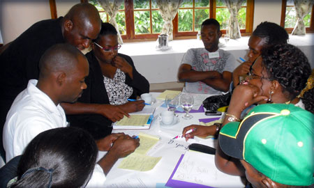 Image of workshop for advocates to involve key populations in national HIV prevention dialogue and decisionmaking.