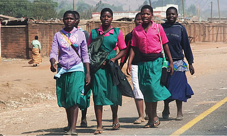 A group of schoolgirls in Malawi.