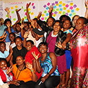 Participants at a women's leadership training in 2014